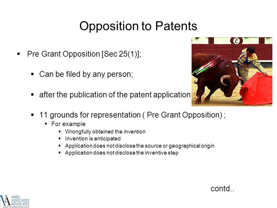 Opposition to Patents Pre Grant Opposition [Sec 25(1)];